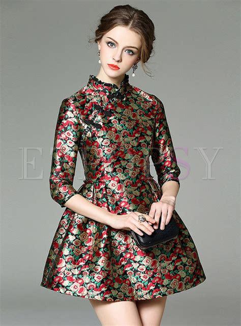 dresses skater dresses mandarin collar floral print dress