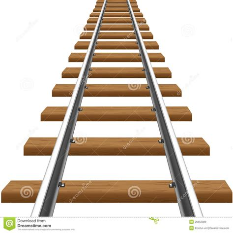 Sleepers Free Rails With Wooden Sleepers Vector Illustration Stock