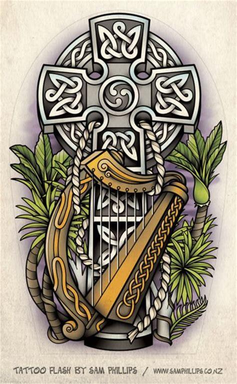 irish harp tattoo designs celtic cross and harp design