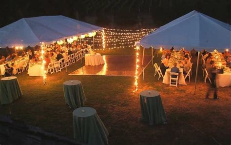 backyard wedding tent lighting for an outdoor reception no tent no trees