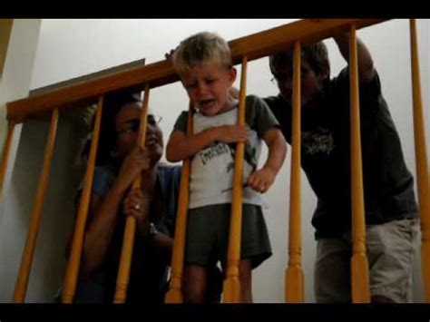 Sliding Down A Banister 3 Year Old Gets Head Stuck In Stair Railing Youtube