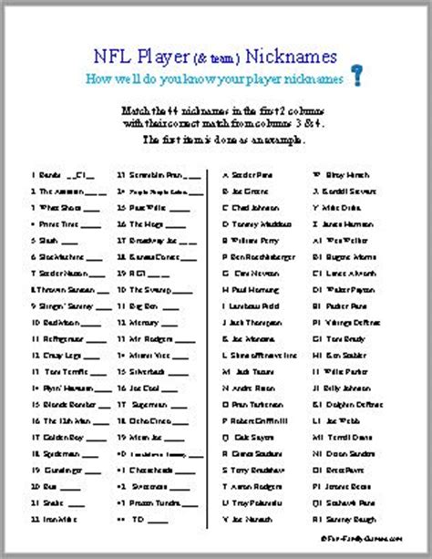 printable team quiz nfl football trivia questions and answers 2014