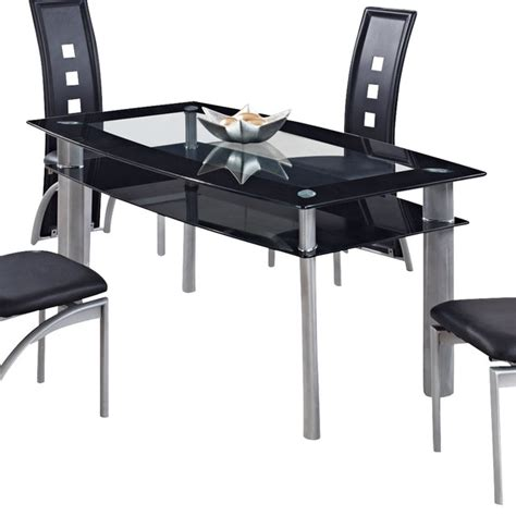 Global Furniture USA 1058DT Rectangular Black Glass Dining Table with Metal Legs traditional