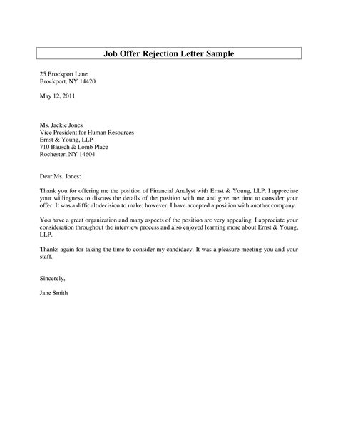 job offer rejection letter write job offer