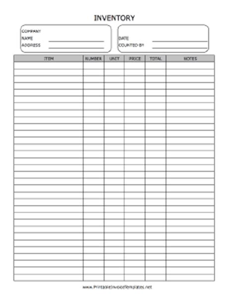 Inventory Count Form Template Inventory Sheet Template Printable