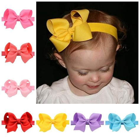 Ribbon Baby Headband 20pcs lot infant headband wraps elastic bands grosgrain ribbon bows tiara baby
