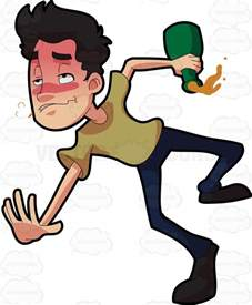 Green Yellow Color Blind A Drunken Man Tumbling Down On The Floor Cartoon Clipart