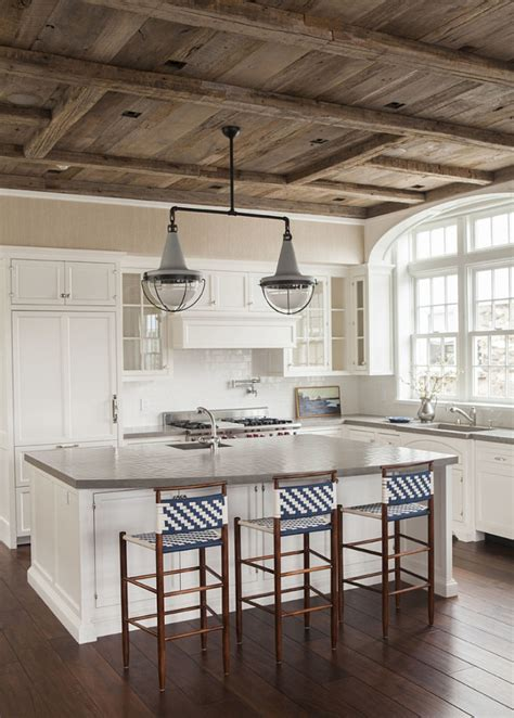 Kitchen Wood Ceiling by East Coast House With Blue And White Coastal Interiors