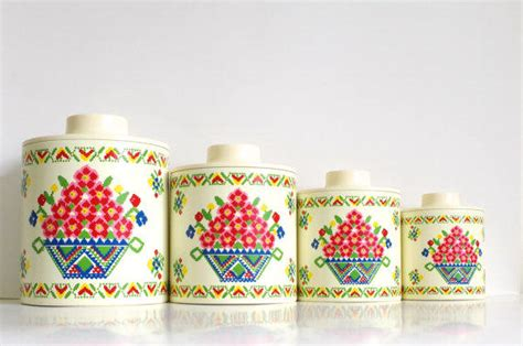 vintage ransburg metal kitchen canisters unique rhinestone design vintage canister set cross stitch from simple treasury