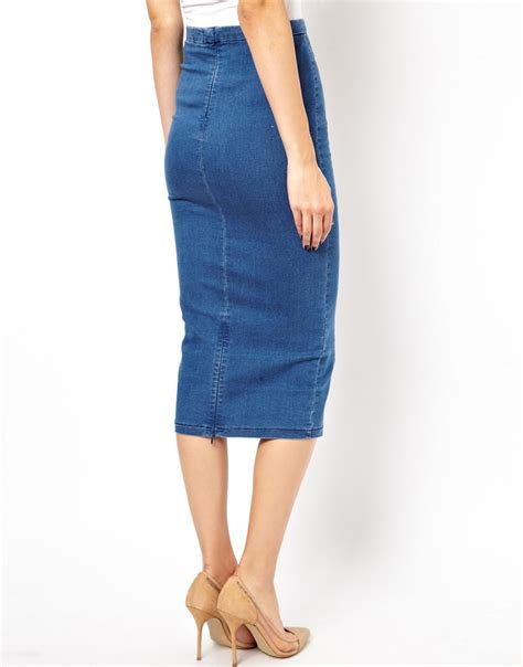 Blue Midi Denim Skirt Sml 41078 asos denim seamed midi pencil skirt in blue lyst