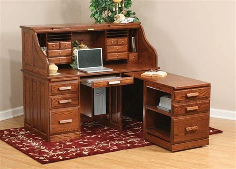 amish roll top computer desk holmes office collection