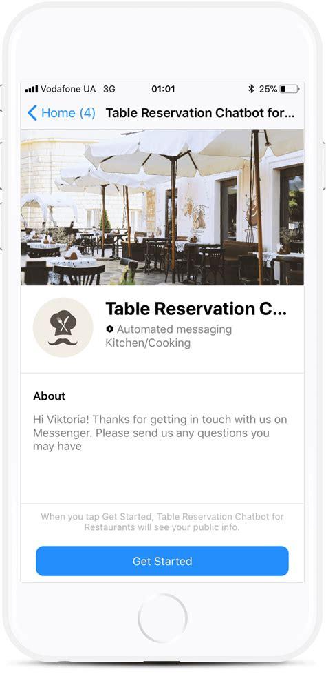 Restaurant Table Reservation Bot Template For Messenger For 87 Botmakers Chatbot Template