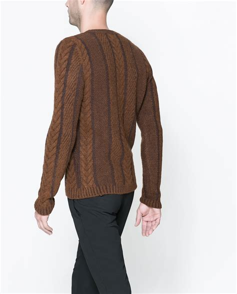 brown cable knit sweater zara cable knit sweater in brown for lyst