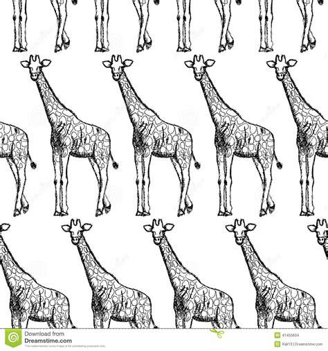 vintage pattern sketch sketch giraffe vector vintage seamless pattern stock