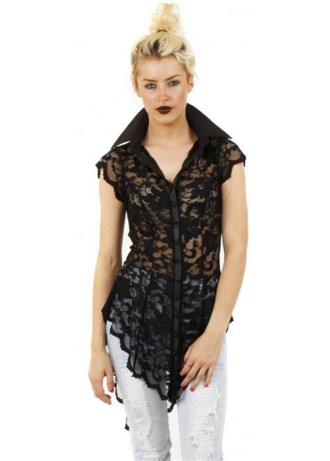 roc doll rockability blouse black lace shirt