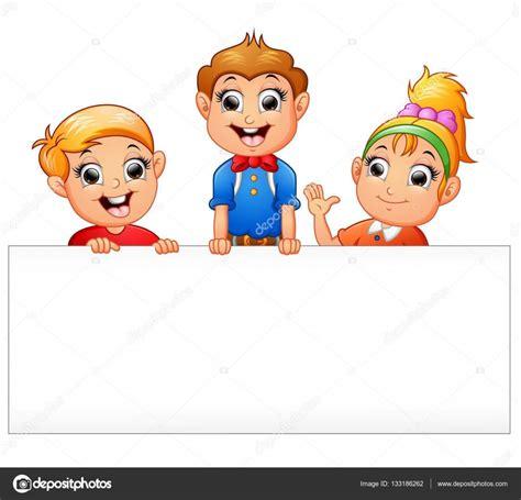 imagenes de niños alegres en caricatura caricatura de ni 241 os felices con cartel en blanco vector