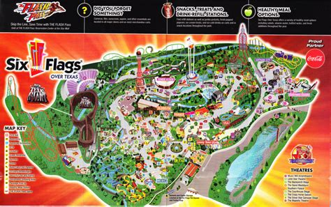 six flags texas arlington map six flags texas 2011 park map