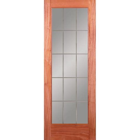 15 Lite Interior Door Feather River Doors 30 In X 80 In 15 Lite Illusions Woodgrain Unfinished Mahogany Interior