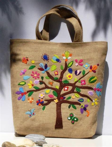Handmade Jute Bags - handmade jute summer tote bag with colorful by