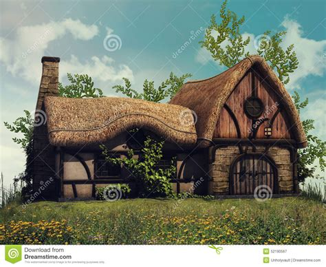 Cottage On A Hill by Fairytale Cottage On A Hill Stock Illustration Image