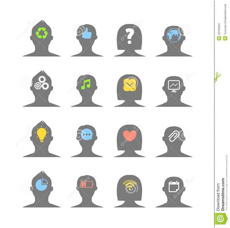 human silhouettes with different ideas stock vector