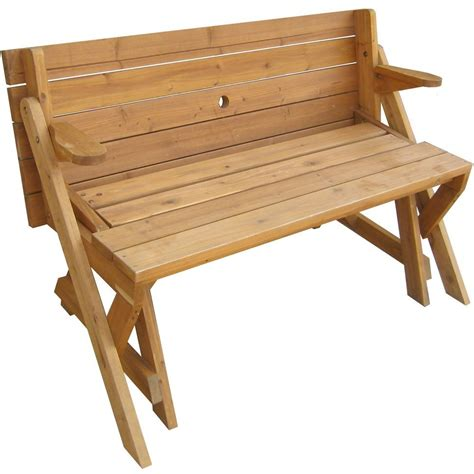 interchangeable picnic table and garden bench in outdoor