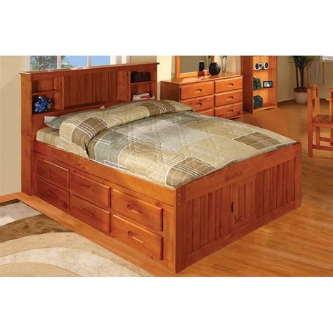 captain bed full honey captains full bed with 12 drawers