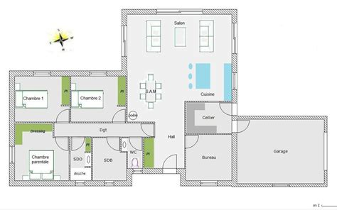 plan de maison plain pied 5 chambres modele maison plain pied 5 chambres immobilier pour tous