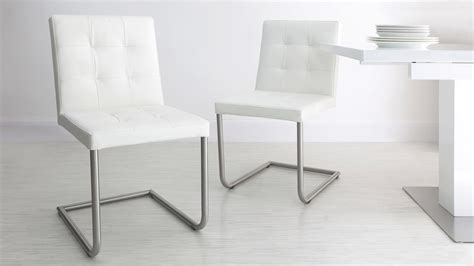 White Leather Dining Chairs And Table White High Gloss Table Funky Design Quilted Leather Dining Chairs