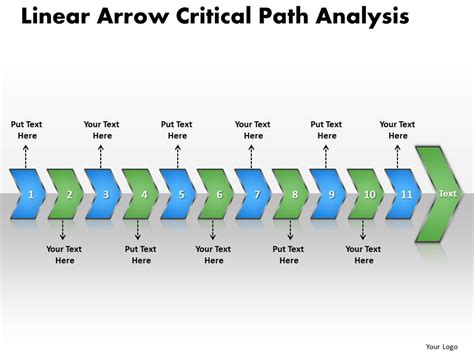 ppt linear arrow critical path analysis business