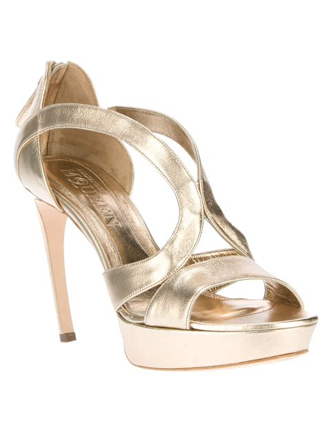 gold platform sandals mcqueen platform sandal in gold lyst