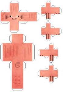 cut out character template make your own printable minecraft pig cut out