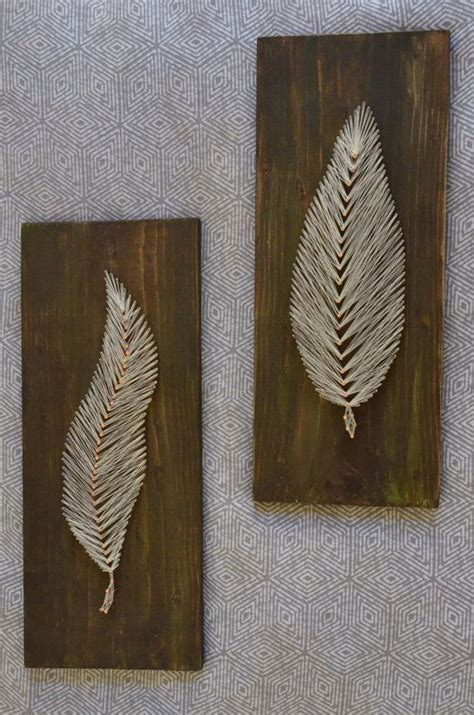 diy wall art from yarn nails set of 2 string art feather nail by
