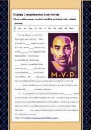 kobe bryant mini biography english worksheet short bio of kobe bryant