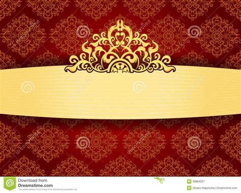 frame patterned wallpaper elegant gold frame on pattern wallpaper stock illustration
