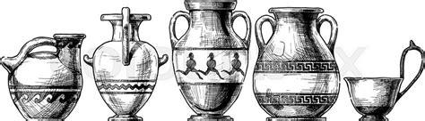 vector sketch of ancient vases set in ink