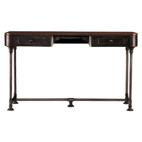 wood 1 drawer 60 inch writing desk elmore 2 drawer wood metal writing desk tobacco aiden