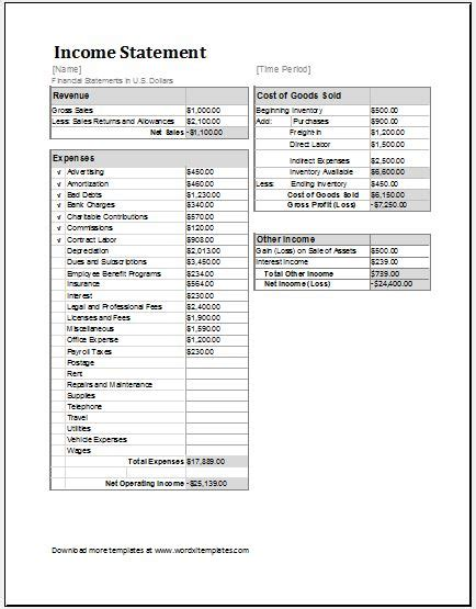 profit loss statement template microsoft word excel