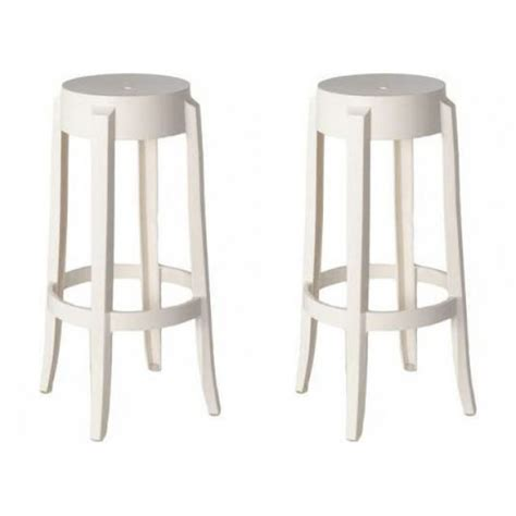 White Coloured Stools 2 x ghost style white color bar stool