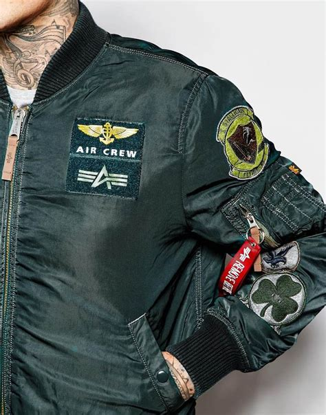Jaket Bomber Cewek Army Limited image 3 of alpha industries bomber jacket with patches