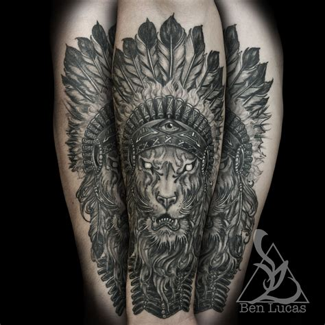 headdress tattoo designs with indian headdress done at eye of jade in