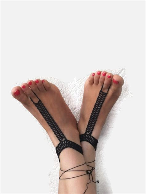 black crochet beaded barefoot sandals beadwork ankle bracelet
