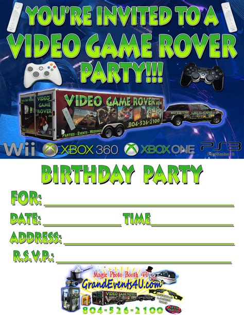 game truck layout invitation wording for video game party image collections