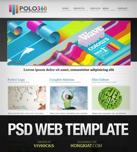 psd website templates free high quality designs web template in photoshop psd polo360 hongkiat