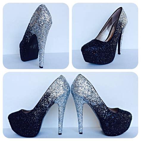 sparkley high heels black glitter high heels silver ombre platform pumps