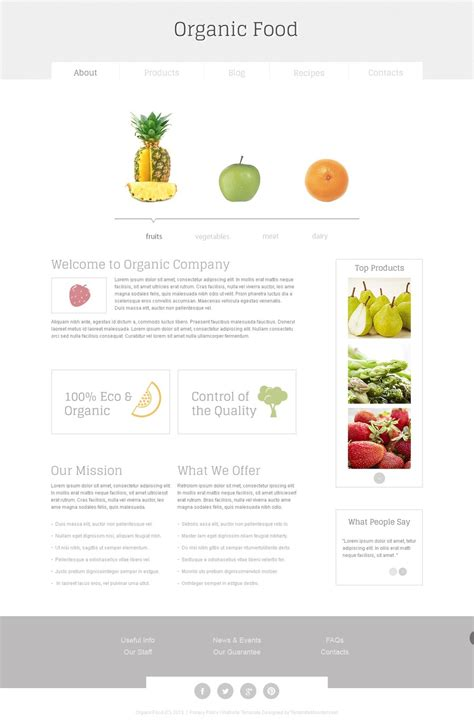 Organic Food Free Html5 Template Free Grocery Website Templates