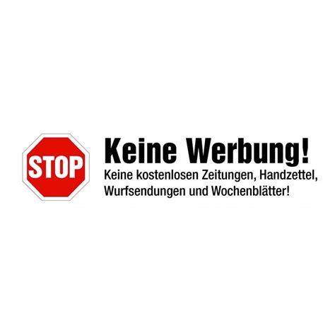 Werbung Aufkleber by Stop Keine Werbung Kleber