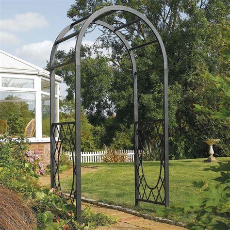 Metal Garden Arch Uk Solid Steel Garden Arch Metal Arbor Frame Gray Outdoor