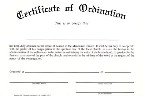 ordination certificate templates free ordination certificate