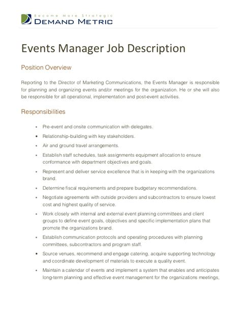 Advertising Manager Description by Events Manager Description